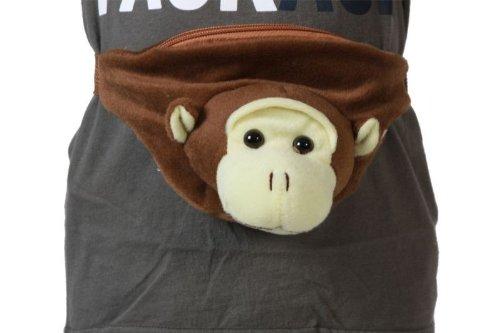 Affen Gürteltasche Gürtel Tasche Hüftbeutel Affenhüftbeutel braun brauner Hüft Beutel Kindertasche Tasche Affentasche Affenbeutel Affe Kind für Kinder Kinderbeutel