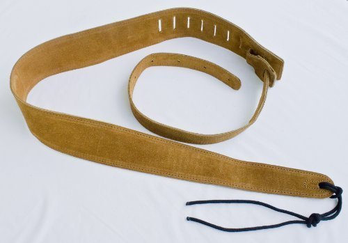 Guitar Strap Double Layer Of Tan Suede Leather 2 & 1/2