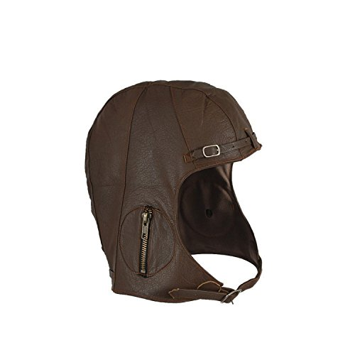 WWII Replica Vintage Brown Leather Aviator Pilot Helmet Cap CHILD L/XL
