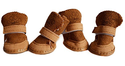 Spiritup Plush Cotton Puppy Dog Shoes Pet Snow Booties Boots Warm Paw Protectors with Rugged Anti-Slip Sole 4Pcs