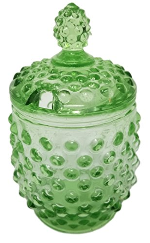 Rhyne and Son Reproduction Hobnail Glass Sugar Jar with Lid Opening (Green) - Green Depression Glass Sugar