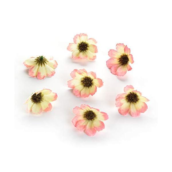 silk flowers in bulk wholesale Fake Flowers Heads Artificial Daisy Flower Head for Wedding Home Decoration DIY Corsage Wreath Fall Vivid Fake Silk Flowers 100pcs 4cm (White Pink)