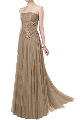 Dunkel Lang Abendkleider Linie Spitze Damen La Champagner A Brautmutterkleider Abschlussballkleider Braut mia Traegerlos vPTSwq