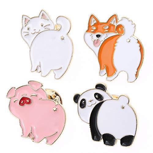 Cute Cartoon Animal Themed Brooch Pins Set,Panda Cat Fox Pig Lapel Pin Enamel Badges Brooch 4 Pcs for Teen Children Clothes Backpacks Decor Birthday Gift