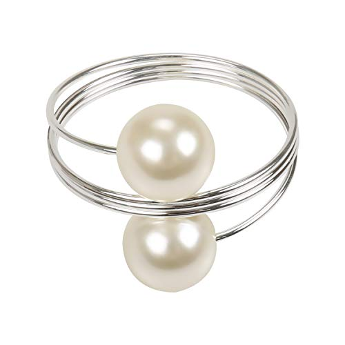 wonlex Pearl Napkin Rings Set of 12, Silver Napkin Ring Pearls for Easter, Thanksgiving Day, Christmas, Birthday Party and Table(Pearls)