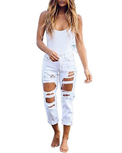 Distrutti Jeans Strappati Donne Bianco Sigaretta Kasen Scarni Pantaloni nBTYfwpq4x