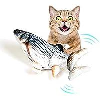 Juguete de pata de pez gatero eléctrico, juguete de pescado para gato, juguete realista para gato, juguete de peluche, simulación de gato, juguete de pescado, juguete interactivo para mascotas, masticar alimentos para gato, gatito o gatito, A, 35×12cm