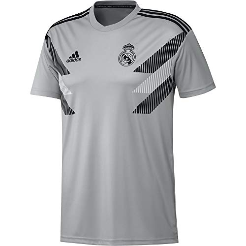 adidas Men's Real Madrid Home Pre-Match Training Soccer Jersey (X-Large, Stone)