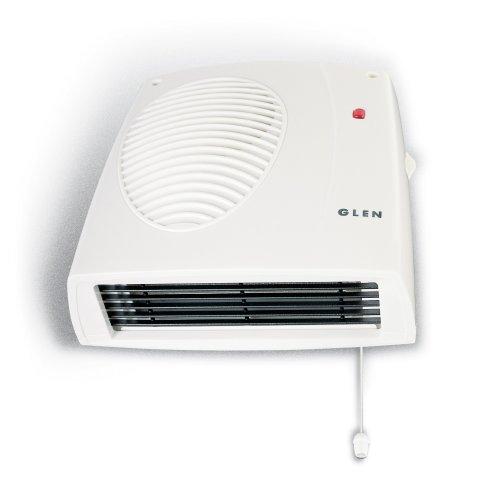 Glen 2 KW Wall Mounted Downflow Fan Heater For Bath Kitchen Utility Rooms W 29.8 x D 20.1 x H 8.5 cm