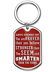 2020 Graduation Gifts Birthday Charms for Kids Teens Students Boys Girls Always Remember You are Braver Than You Believe Inspirational Keychain for Women Men Red Side