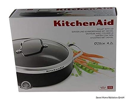 Kitchenaid para Servir de y sartén Honda con Tapa (Diámetro 28 Cm ...