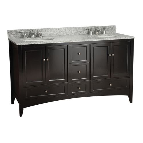 Foremost Chrome Vanity - Foremost BECA6021D Berkshire 60-Inch Espresso Bathroom Vanity