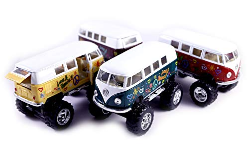 (Set of 4 Hippie 1962 Classic VW Bus 4x4 Off Road Monster Truck w/ Flowers - Pull Back Toy Cars 1:32 Scale (Green/Purple/Red/Yellow))