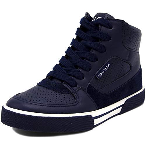 Nautica Kids Horizon Sneaker-Lace Up Fashion Shoe- Boot Like High Top Navy, 4 Big Kid
