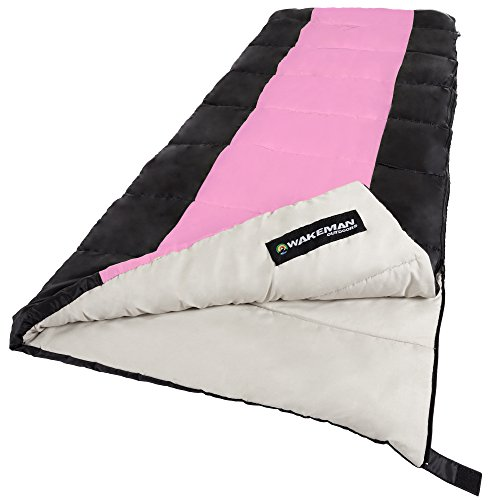 (Wakeman Sleeping Bag, 2-Season with Carrying Bag for Adults and Kids, Otter Tail Sleeping Bag Outdoors (Pink) (for Camping and)