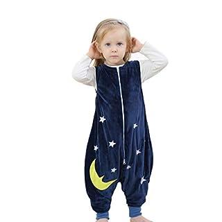 JunNeng Baby Unisex Fleece Sleeveless Sleep Bag with Feet Kids Cartoon Onesie Pajamas Wearable Blankets (S/1-2 Years, Navy Blue)