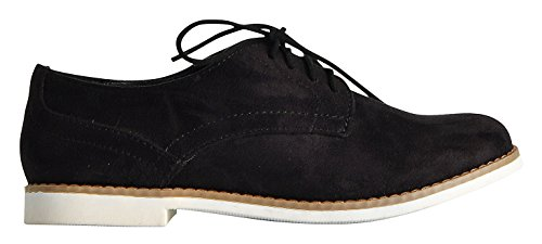 Lusthave Women Cooper Lace Up Oxfords Flats Sneakers Nero Imsu