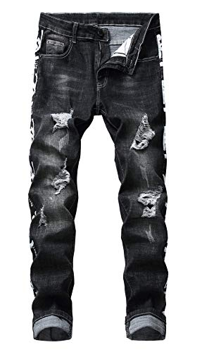 FEESON Men's Fashion Printed Distressed Stretch Slim Leg Washed Outfit Jeans Black Chic Cotton Moto Jacket