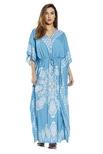 Riviera Sun 21715-TRQ-XL Caftan/Caftans for Women, Turquoise, X-Large