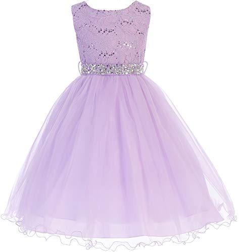 Little Girl Glitters Sequined Bodice Double Layer Tulle Rhinestones Sash Flower Girl Dress Lilac 6 JK3670