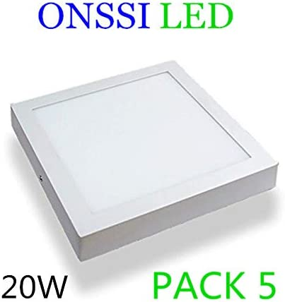 Plafón de Techo LED Cuadrado 22x22 cm,20W (Pack 5) Blanco Frio 6000k-6500k Superficie Panel LED Lámpara de Techo ONSSI LED: Amazon.es: Iluminación