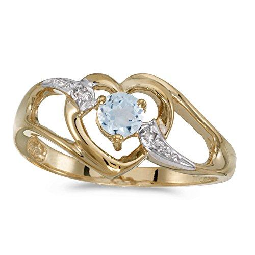 (FB Jewels 14k Yellow Gold Genuine Birthstone Solitaire Round Aquamarine And Diamond Heart Wedding Engagement Statement Ring - Size 7 (1/5 Cttw.) )