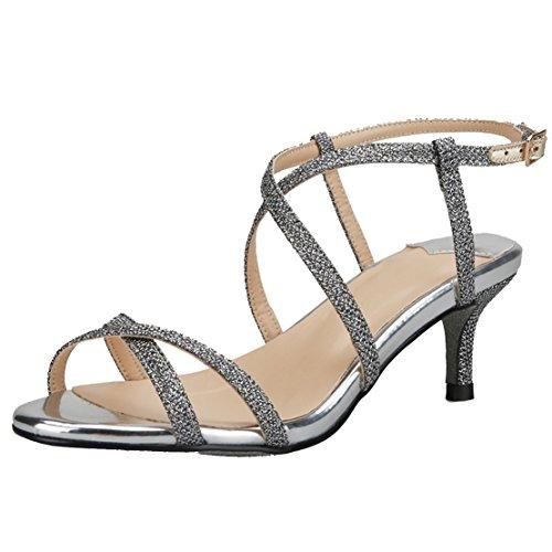 AIYOUMEI Damen Kleiner Absatz Glitzer Knöchelriemchen Sandalen mit Schnalle Stiletto High Heels Elegant Pailletten Schuhe Silber