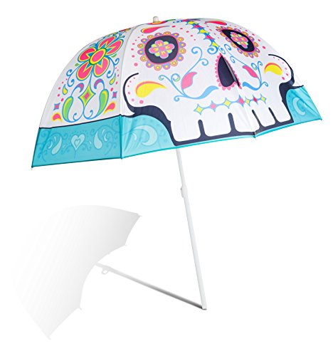 BigMouth Inc. Sugar Skull Colorful Beach Umbrella, Perfect for Summer Vacation or Rainy Days