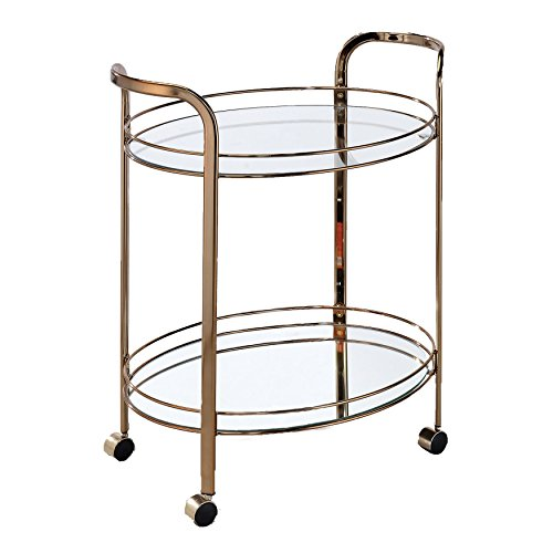 HOMES: Inside + Out IDF-AC236 Mulga Serving Cart Champagne Contemporary by HOMES: Inside + Out