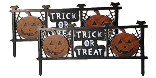 [Trick R Treat Halloween Pumpkin Yard Decorations Fence Quantity 2] (Halloween Yard)