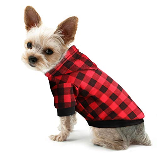 The Creativehome Plaid Dog Hoodie Sweatshirt Sweater for Small Dogs Cat Puppy Clothes Coat Warm and Soft(S)