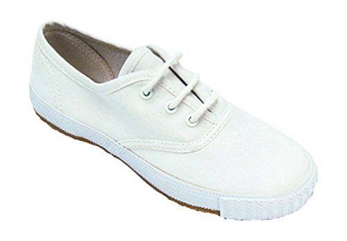 Mirak Lace-Up Textile Lined Plimsolls - White - Size 3 4 5 White