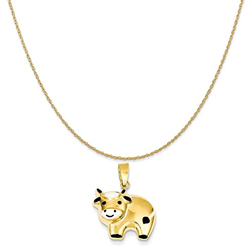 Mireval 14k Yellow Gold Enameled Cow Charm on a 14K Yellow Gold Rope Chain Necklace, 20