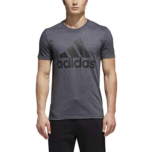 adidas Mens Badge of Sport Graphic Tee, Dark Grey Heather/Black, Large