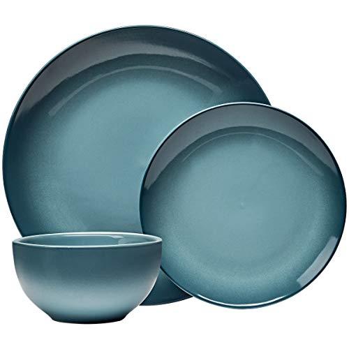 Everyday Glaze Stoneware Dinnerware Set, Teal 12 Piece Service for 4