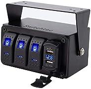 Switchtec 3 or 5 Gang Rocker Switch Panel with 4.8 Amp Dual USB Fast Charger w/Voltmeter, Blue Backlit Led, Pr