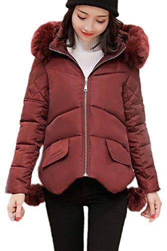 Peloso Inverno Faux Outwear Wined Breve Giacconi Occasionale Felpa Caldo Le Trapuntata 5Z6wqKqa