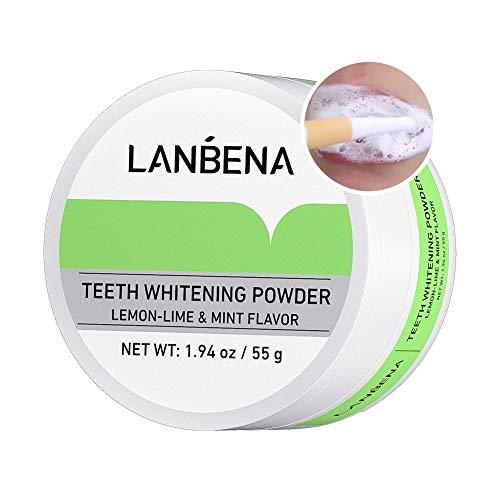 Teeth Whitening, LANBENA Teeth Brightening Powder Natural Tooth Whitener Remove Coffee Wine Tobacco Stains and Fresh Breath Teeth White Powder Lemon-lime & Mint Flavor 55g/1.94oz