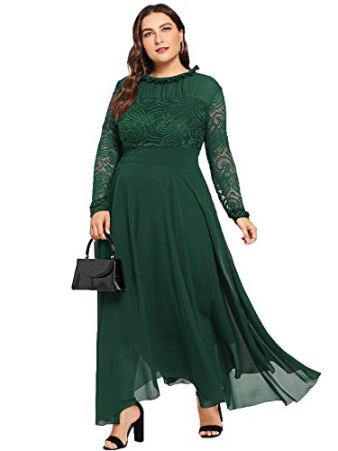 Dress Vintage Flowy Sleeve Ruched Long Milumia Lace plus Women's Green Floral Neck Long Size 4q6Uv