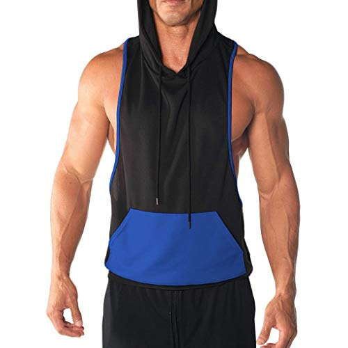 (PASHY Men's Tops and Hoodies Men's Gyms Fitness Muscle Mesh Hoodie Solid Sleeveless Singlet T-Shirt Top Vest Tank)