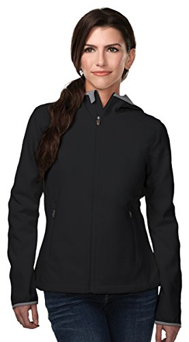 Tri-Mountain Performance FL7887 Womens Bonded Fleece Hoody Jacket W/Slash Pocket - Black/Charcoal - 2XL
