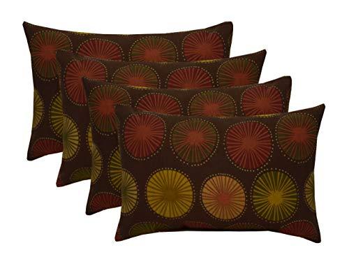 RSH Décor Indoor Outdoor Set of 4 Decorative Rectangular Lumbar Throw Pillows ~ Beringer Chocolate ()