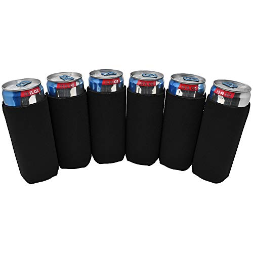 TahoeBay 6 Slim Can Sleeves - Blank Neoprene Beer Coolers - Compatible with 12oz RedBull, Michelob Ultra, Spiked Seltzer (Black, 6)