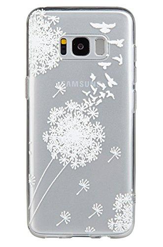 Galaxy S8 Plus Case,3Cworld Ultra Thin Clear Art Pattern Crystal Gel TPU Rubber Flexible Slim Skin Soft Case for Samsung Galaxy S8 Plus (Dandelion/Bird Flying-White) (Gucci Crystal Wallet)