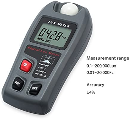 Range: 0.1~200,000 Lux and 0.01~20,000 Fc Handheld Digital Luxmeters Illuminance Light Meter with LCD Display High Accuracy /±4/% Lux Meter
