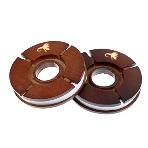 Jili Online 2pcs Fishing Line Spools Storage Reels Wooden Round Bobbins, Spools for Carp Fishing Lure Hook, Circular Winding Plate, Trace Wire Leader Swivel Tackles