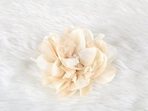 Lolita lace Flower Hair Clip and Brooch pin with pearl (Beige)