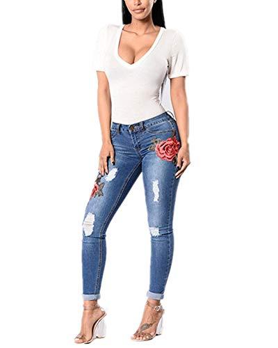 Mujer Otoño Moda Cintura Alta Skinny Bordado Floral Pantalones Jeans Leggins Ocio Pequeños Pies Pantalones Vaqueros Azul Oscuro