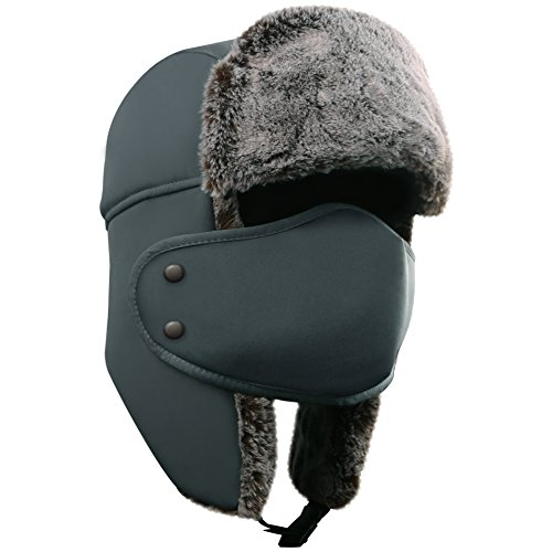 Hat Fur Quilted (AKASO Winter Hat with Ear Flaps, Trooper Trapper Hat, Detachable Face Mask, Windproof Waterproof and Breathable, Faux Fur Ushanka Hunting Hat, Snow Hat, Free Neck Gaiter Included)