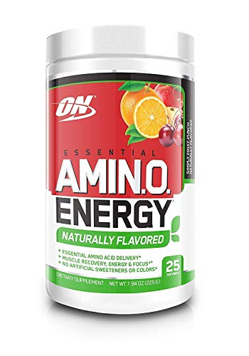 OPTIMUM NUTRITION Naturally Flavored ESSENTIAL AMINO ENERGY, Simply Fruit Punch, Keto Friendly Preworkout and Essential Amino Acids with Green Tea and Green Coffee Extract, 7.94 Ounce (1 Count)